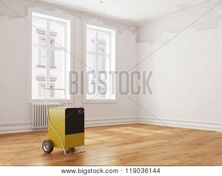 Professional dehumidifier after water damage standing in a room (3D Rendering)