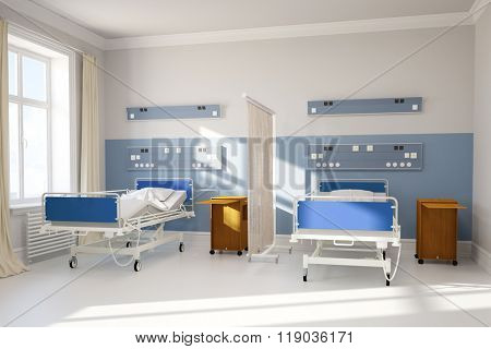 Double room in hospital with two beds and curtain (3D Rendering)