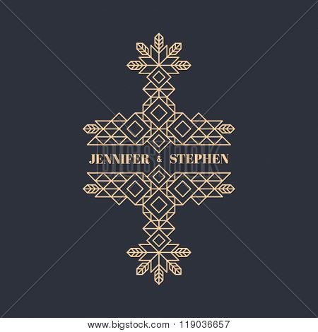 Wedding Invitation. Line Art Design for Invitations, Posters, Badges. Linear Element. Geometric Style. Ornate Element for Design. Elegant Luxury Design Template. Lineart Vector Illustration.