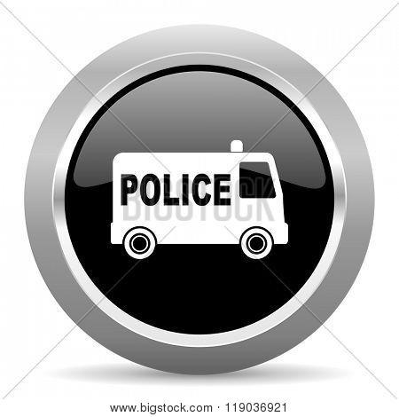 police black metallic chrome web circle glossy icon