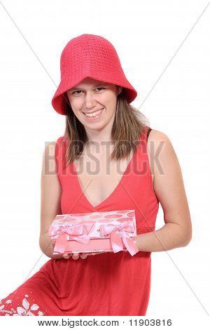 Cute Teen em um vestido de cor de pervinca