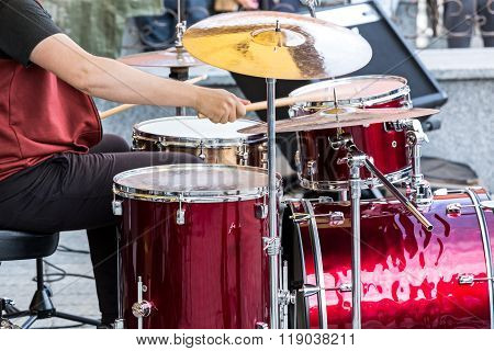 Drummer On The Open Air Rock Concert