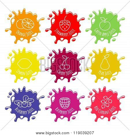 Colorful juice or jam blots set.