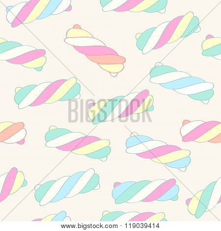 Marshmallow twists seamless pattern vector illustration.