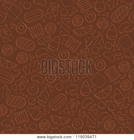 Assorted sweets seamless pattern.