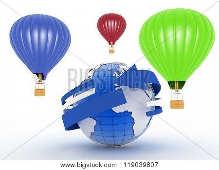Hot air balloons. 3d illustration on white background