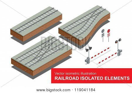 Railroad isolated elements for rail freight transportation. Flat 3d vector isometric illustration