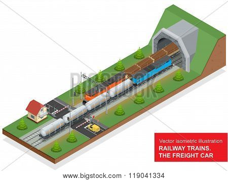 Vector isometric illustration of a railway junction. Railway junction consist of Rail covered wagon