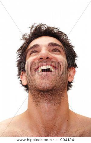 Mann mit glücklichen Gesichtsausdruck
