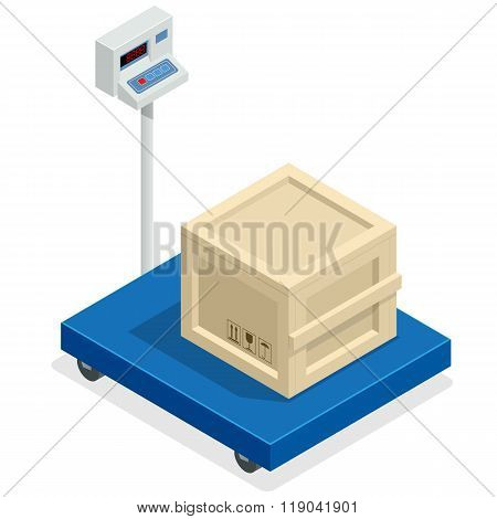 Scales for weighing heavy objects and goods. Box and cargo, package and freight, parcel and product