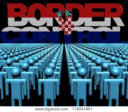 Border Control text with Croatian flag and crowd of people illustration