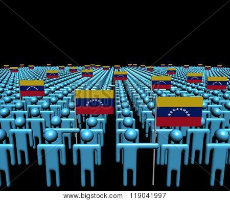 Crowd of abstract people with many Venezuelan flags illustration