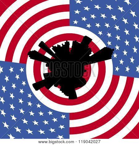 Atlanta circular skyline with American flag illustration