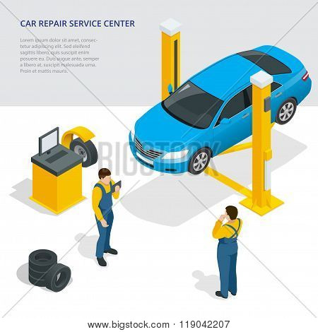 Car repair service center. Tire service flat set with shop car repair mechanics. Flat 3d isometric v