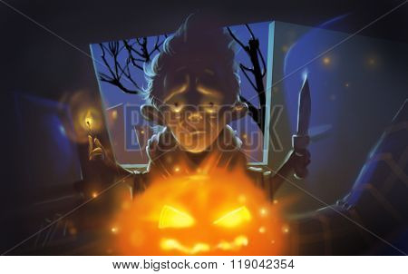 Halloween Creepy Man With Pumpkin Illustration