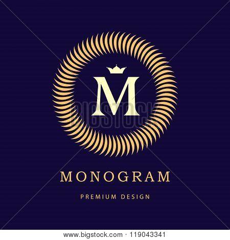 Monogram Design Elements, Graceful Template. Elegant Line Art Logo Design. Letter M. Retro Vintage I