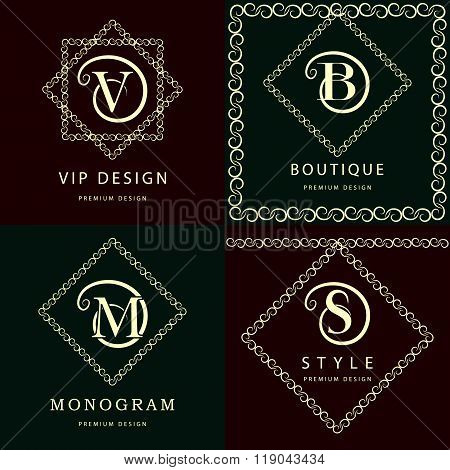 Monogram Design Elements, Graceful Template. Elegant Line Art Logo Design. Letter M, S, V, B. Emblem