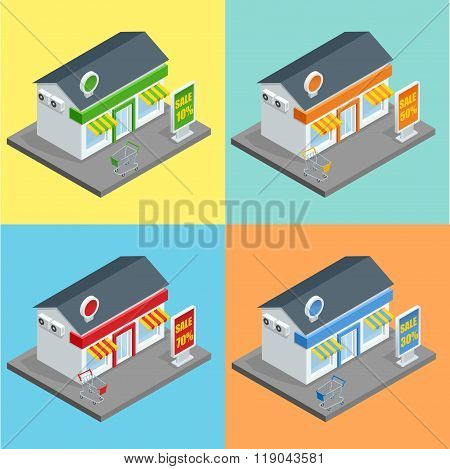 Shop, supermarket exterior. Shops stores and supermarket buildings flat decorative icons set isolate