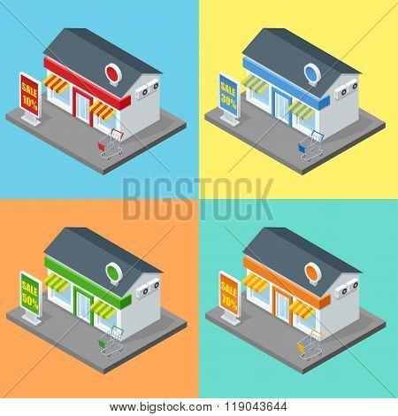 Shop, supermarket exterior. Shops stores and supermarket buildings flat decorative icons set isolate