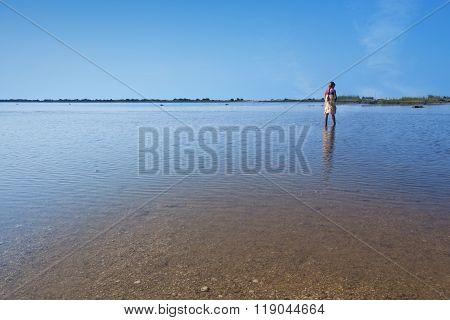Lake Korission In Corfu - With A Little Girl Walking