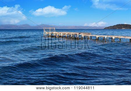 Old Wooden Pier On Corfu Island In Greece