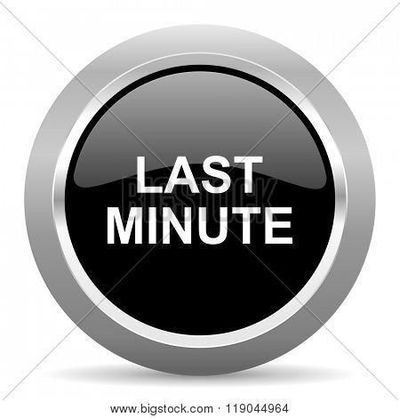 last minute black metallic chrome web circle glossy icon