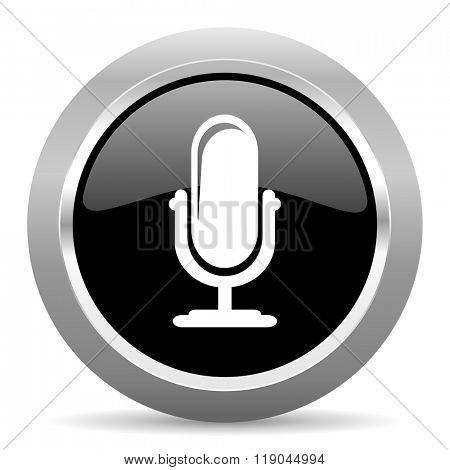 microphone black metallic chrome web circle glossy icon