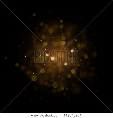 Defocused gold sparkle glitter lights background. Vector Glitter bokeh black background