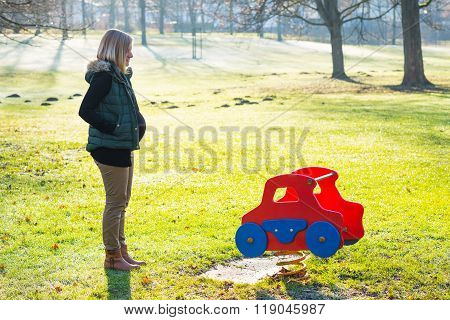 Young Pregnant Woman Alone  The Park