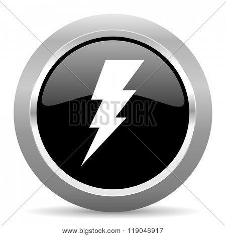 bolt black metallic chrome web circle glossy icon
