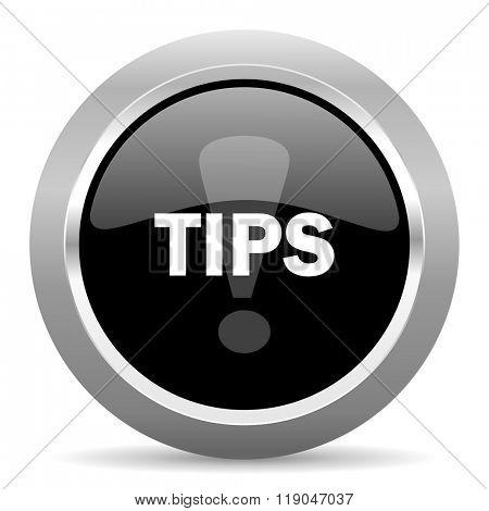 tips black metallic chrome web circle glossy icon