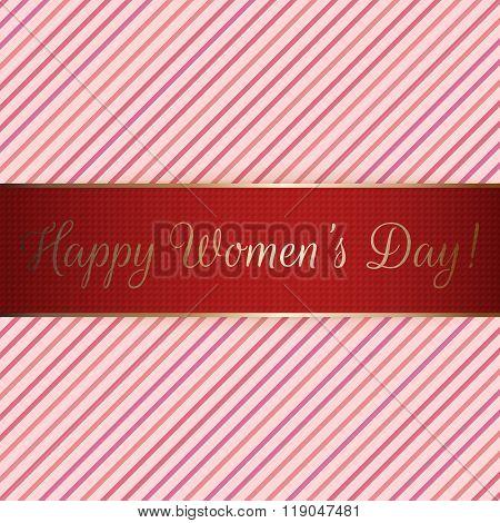 Happy Womens Day red festive Ribbon