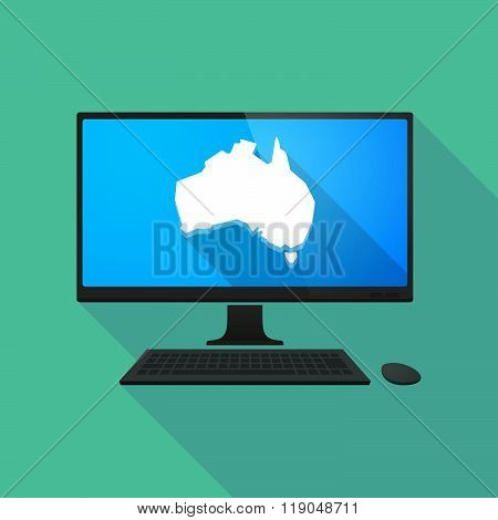 Personal Computer With  A Map Of Australia