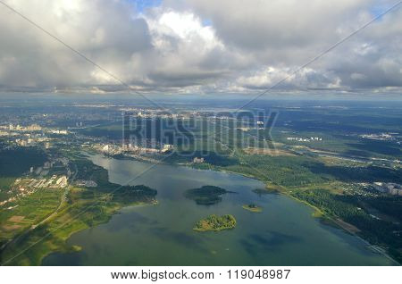 View From Height Of Southern Urals Nature, Russia - Aerial Summer Panorama