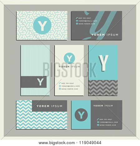 Set of coordinating business card designs with the letter y