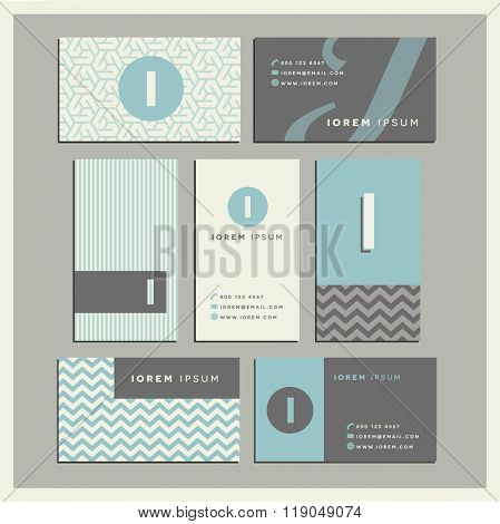 Set of coordinating business card designs with the letter i