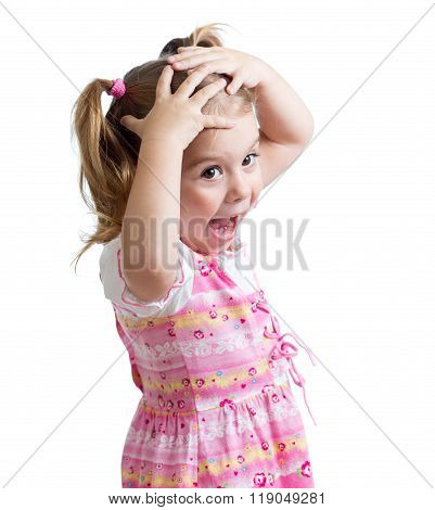 Amazed or surprised child girl hands holding head