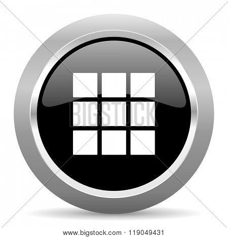thumbnails grid black metallic chrome web circle glossy icon