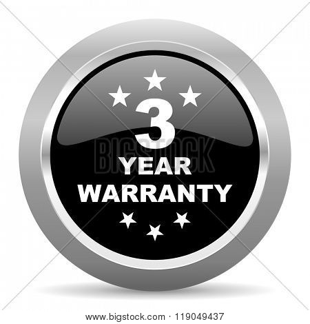 warranty guarantee 3 year black metallic chrome web circle glossy icon