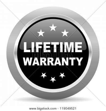 lifetime warranty black metallic chrome web circle glossy icon
