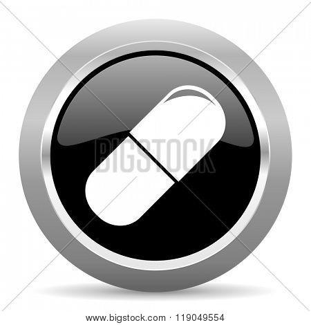 drugs black metallic chrome web circle glossy icon