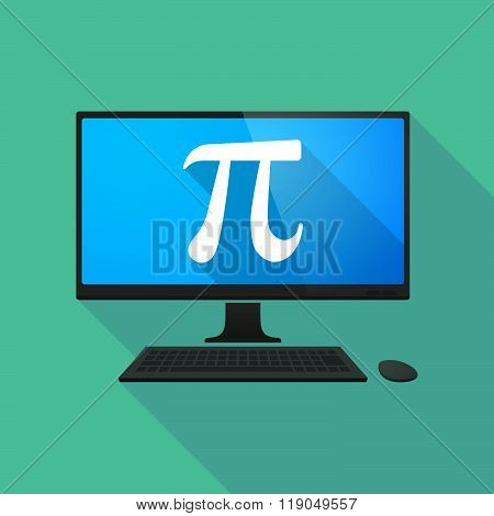 Personal Computer With The Number Pi Symbol