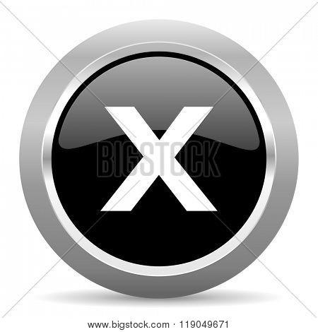 cancel black metallic chrome web circle glossy icon