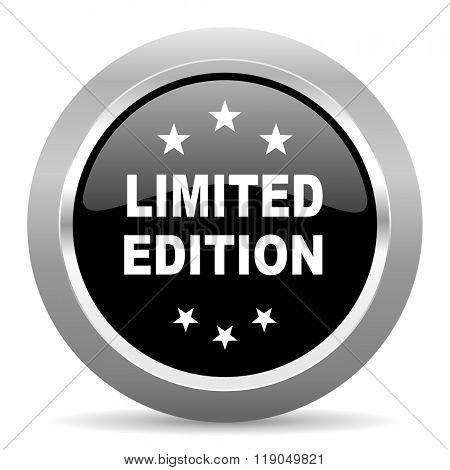 limited edition black metallic chrome web circle glossy icon