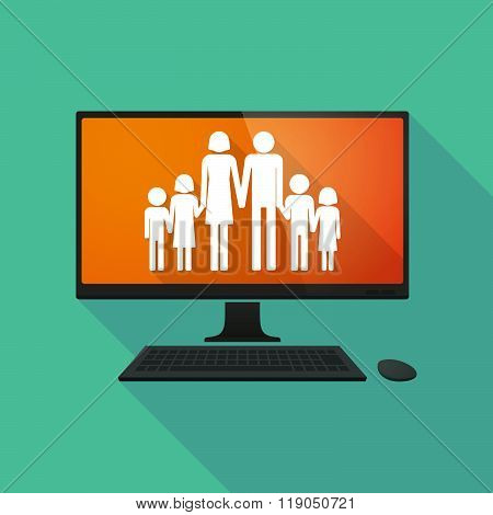 Personal Computer With A Large Family  Pictogram