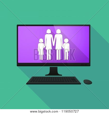 Personal Computer With A Lesbian Parents Family Pictogram
