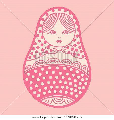 Vector Illustration Of Russian Traditional Matryoshka Doll