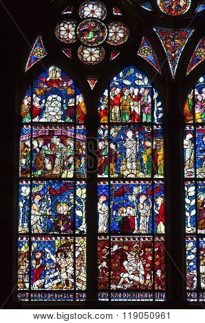 Stained-glass Windows Of Strasbourg Cathedral, Alsace, France