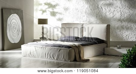 NEW ELEGANT COLLECTION . MINIMAL BED DESIGNS IN WHITE AND NATURAL COLORS IN ROOMS WITH ABSTRACT DECORATION .