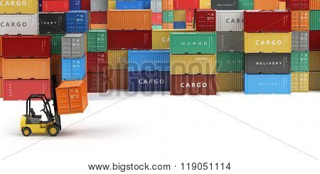 Cargo shipping containers in storage area with forklifts with space for text. Delivery or warehouse concept.  3d